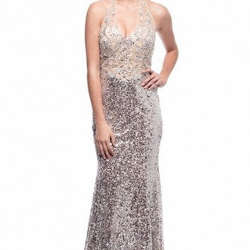 KC131594 Silver Sequin Halter Evening Gown Prom Dress by Kari Chang Couture