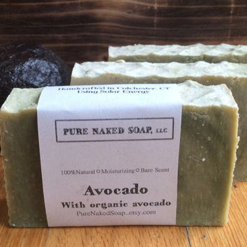 Avocado soap, organic avocado puree, spirulina seaweed,  artisan, unique, gentle, moisture, bare essential oil, subtle scent, avocado oil