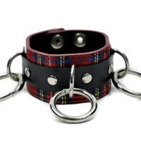 Red Plaid Tartan O Ring Wristband