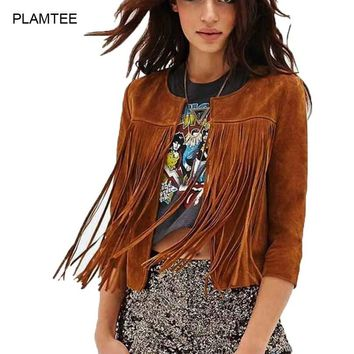 Fringed Leather Cardigan Jacket Women Slim Thin Long Sleeve Outwear Coat Plus Size Jaqueta Feminina