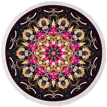 Mandala Love - Round Beach Towel