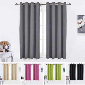 Window Treatment Thermal Insulated Solid Grommet Blackout Curtains 2 Panels for Bedroom