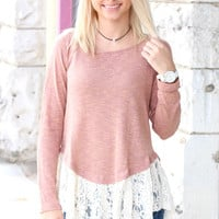 Striking Lace Trimmed Long Sleeve Knit {Blush}