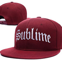 HAIHONG Sublime Band Logo Adjustable Snapback Embroidery Hats Caps - Red