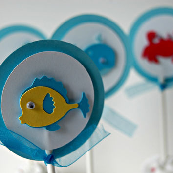 Ocean Party, Under the Sea Party Cupcake Toppers (set of 12)