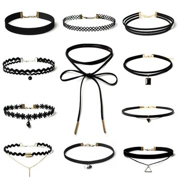 11Pieces Choker Necklace Set Stretch Velvet Classic Gothic Tattoo Lace Choker