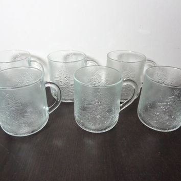 Vintage Duralex Christmas Tree Mugs - Clear Frosted with Christmas Trees - Set of 6