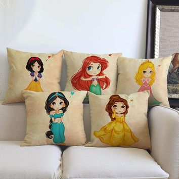 Cartoon girl princess mermaid cushion cover for Sofa throw Pillow case Car Chair house Home Decorations for children room gifts