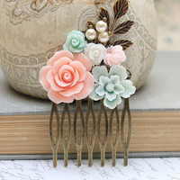 Floral Hair Comb Wedding Flower Collage Coral Pink Rose White Rose Mint Aqua Pearls Antique Gold Brass Leaf Leaves Bridal Hair Accessories