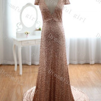 2014 new spring wedding dress Cap sleeves mother dress with train sequins