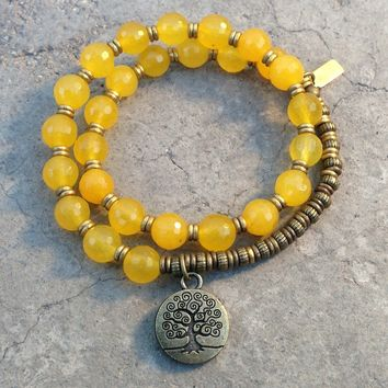 Joy, Faceted Yellow Jade 27 Bead Wrap Mala Bracelet, with Tree Of Life Charm
