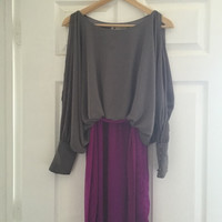 The Impeccable Pig Grey And Purple Color Block Dress