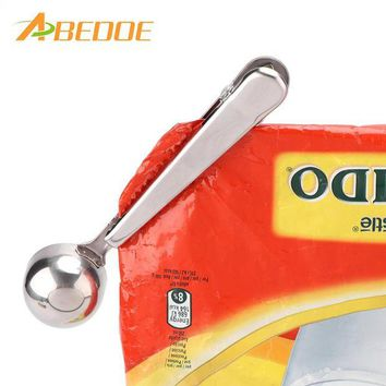 DCCKU7Q ABEDOE Thickness Stainless Steel Coffee Spoon Milk Powder SpoonTea Measuring Scoop and Sealing Clip