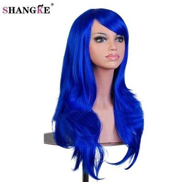 ONETOW SHANGKE Long wavy Synthetic Wigs For Black Women Long Blue Cosplay Wigs For African Americans Heat Resistant Fake Hairpieces