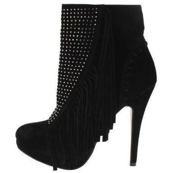 Women's Black Retro Fringe Studded Platform Ankle Boots