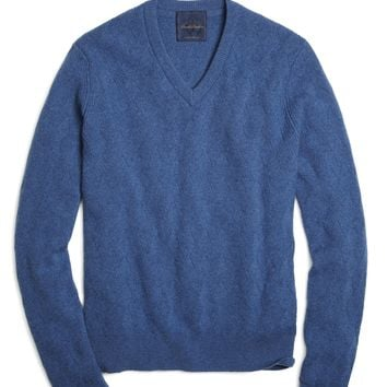 Soft Denim Cashmere Basketweave V-Neck Sweater - Brooks Brothers