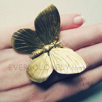 large gold butterfly cocktail adjustable ring by EverSoLovely