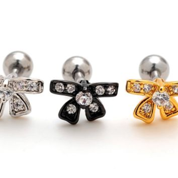 Fashion lovely bowknot zircon earrings Stainless steel antiallergic tragus Earring body jewelry -0427-Gifts box