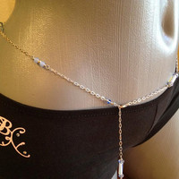 Blue Moonstone and Crystal Hip Chain