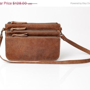 Three leather pouches bag , Leather hip, Small leather purse, leather crossbody bag, Brown leather pouch