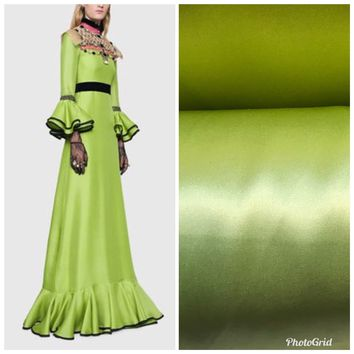 SALE! 100% Silk Charmeuse Satin Fabric Electric Lime By The Yard