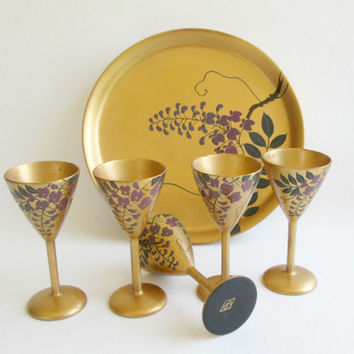 Sake Set Lacquerware, CPO, Occupied Japan, Mid Century. Tray Gold Gilt