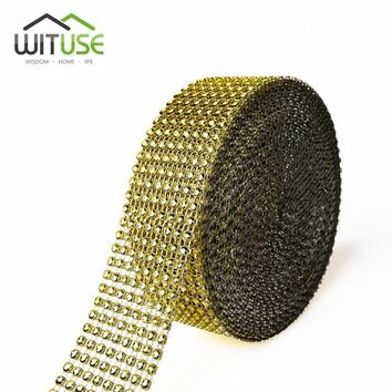 WITUSE Promotion! 1PC 1 Yard 24 8 Rows Rhinestones Diamond Mesh Roll New Year Christmas Wedding Halloween Home Decor Gold Silver