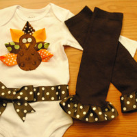 Thanksgiving Ribbon Turkey Onesuit And Legwamers