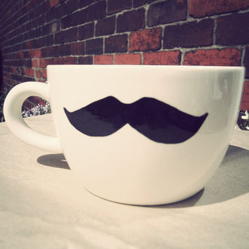 Mr Teacup's hand drawn moustache mug Geeks only last by MrTeacup