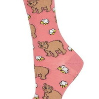 Bears And Bees Ankle Socks - Coral