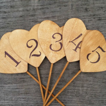 10 Rustic Wedding Table Numbers, Rustic Wedding Decor, Wedding Centerpiece, Wooden Hearts Table Numbers, Rustic Table Decor