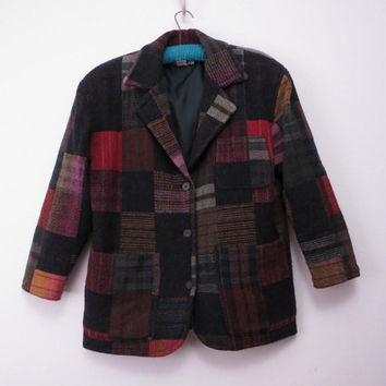 Vintage 80s Boyfriend Jacket Boxy Blazer Patchwork by New York Style Made in Italy M L XL