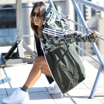 ICIKYE Adidas Jacket Camo Green Landscape Three Stripe Hoodie Windbreaker Jacket