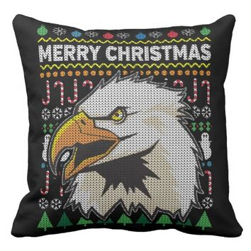 Wildlife Eagle Merry Christmas Ugly Sweater Throw Pillow