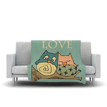 "Carina Povarchik ""Lechuzas Love"" Owls Green Fleece Throw Blanket"
