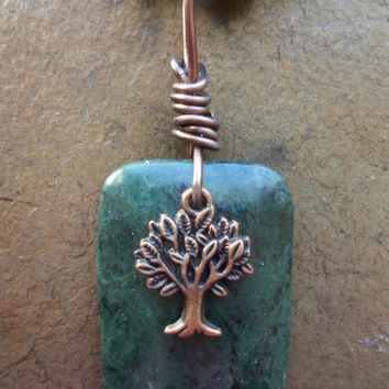 Serpentine, Magnesite, Marble, and Copper Tree of Life Statement Necklace for Aligning Chakras, Balance, Grounding, Calm, and Inner Strength