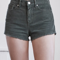 Kendall and Kylie Tree Green Cordurory High Rise Cutoff Shorts at PacSun.com