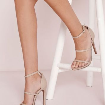 Missguided - Three Strap Barely There Heeled Sandals Nude