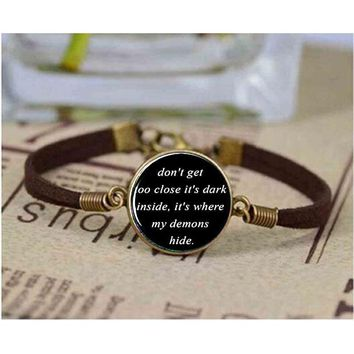 IMAGINE DRAGONS Black Dome leather bracelet chain Song Lyrics Quote Music Jewelry Demons Link Chain Glass Cabochon bracelets man