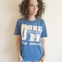 Vintage Blue Duke University Blue Devils T Shirt
