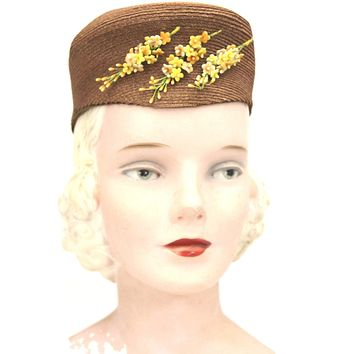 """Vintage Womens Hat 1930s Tall Copper Straw Military Style 23"""" Yellow Flowers"""
