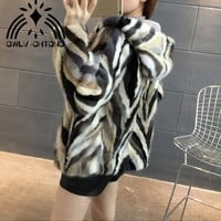 New Natural genuine real Mink Fur coat with hood Women's Fashion All-match multi-color colorfull jacket
