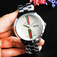 GUCCI Fashion New Dial Letter Stripe Women Men Wristwatch Watch