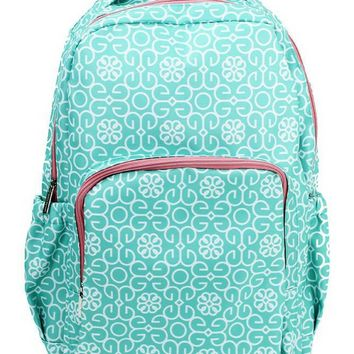 Canvas Backpack | Mint Damask