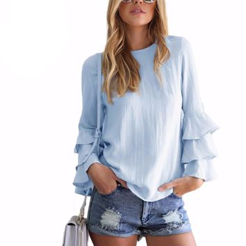 Women Elegant Ladies O-Neck Long Sleeve Solid Shirt Women Casual Loose Tops
