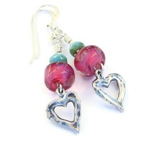 Valentines Heart Earrings Handmade Pink Lampwork Turquoise Jewelry