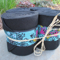 Set of 4 Polo Wraps for Horses- Black Fleece with Turquoise Medallion Fabric Accent
