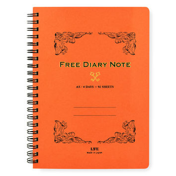 Free Diary Note A5 Planner Notebook Red Orange