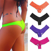 2016 Brazilian Bikini Bottoms Cheeky Swimwear Bathing Suit Thong tanga Bikini Bottom Women's Sexy Seamless Reversible Black