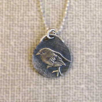 Silver Bird Necklace Bird Pendant - Animal Charm